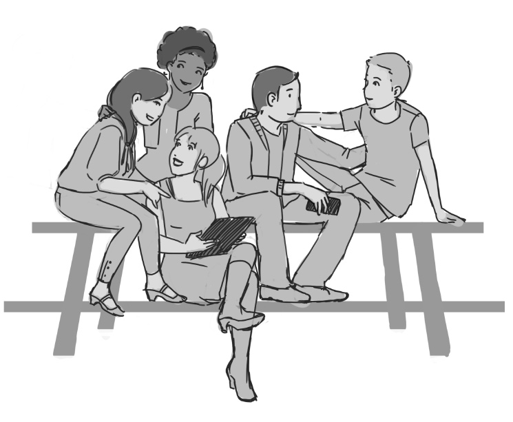 sketch of teenagers sitting on picknick bench