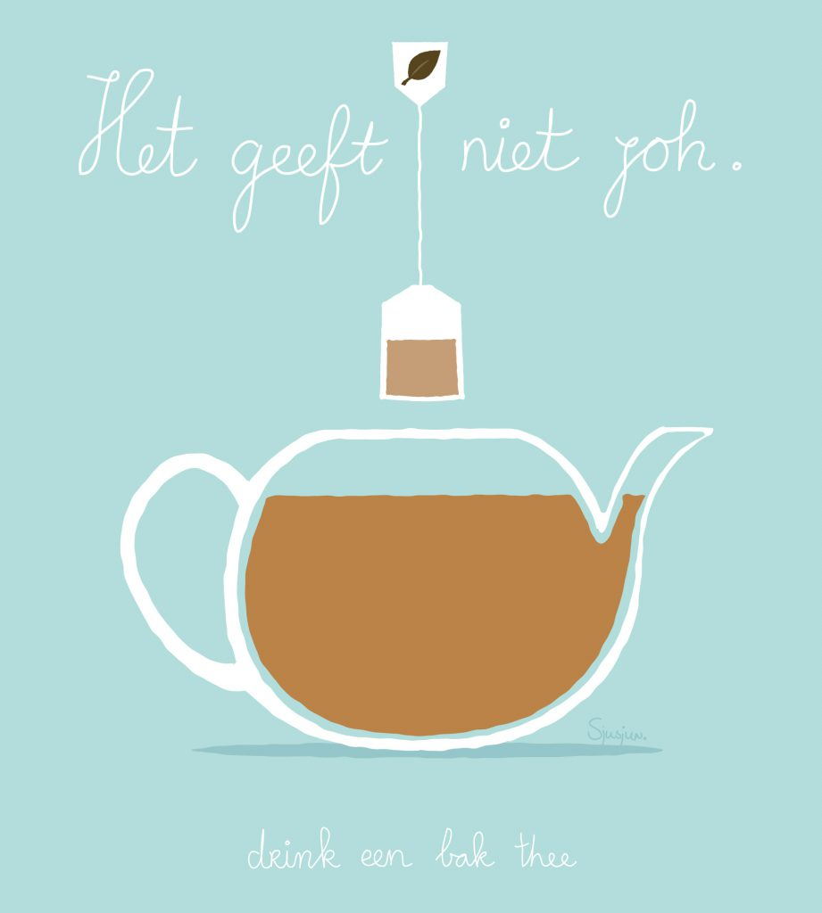 Illustration of teapot with text, it doesn't matter, drink some tea