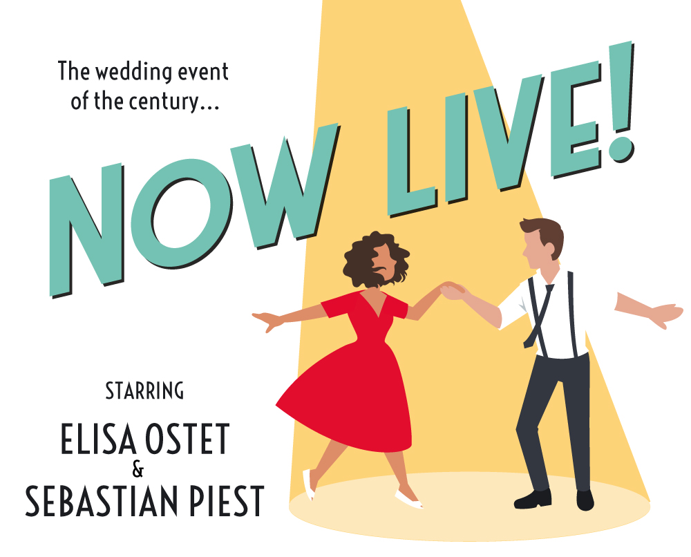 Bruiloft plaatje met dansend koppel, now live