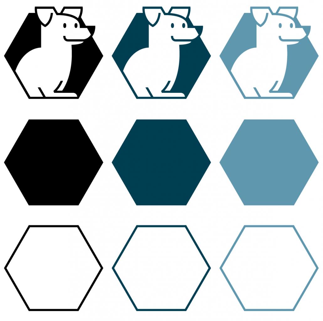 Beeldmerk in kleur met de hexagon assets