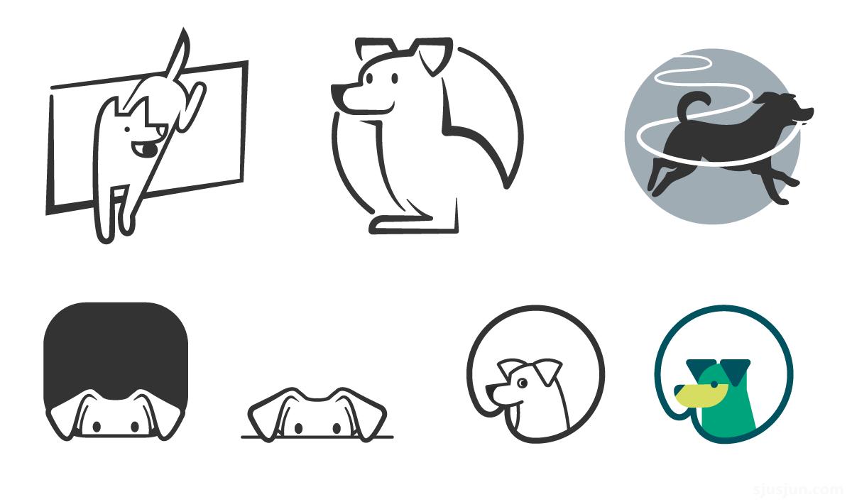 Eerste concepten van officedog beeldmerk