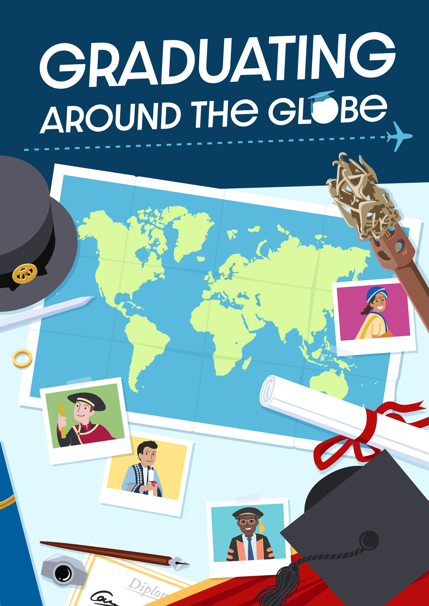 Voorkant van Graduating around the Globe met titel